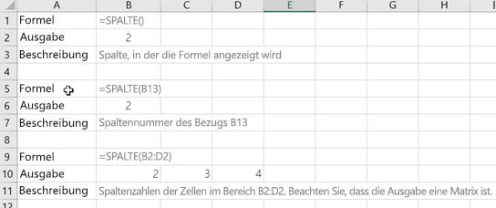Beispiele für die Spalte-Funktion