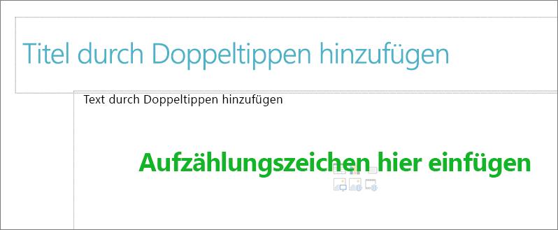 Abbildung des Feld leeren Titel und leeren Textfeld angezeigt, in dem Aufzählungszeichen funktionieren.