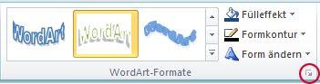 Startprogramm für das Dialogfeld 'WordArt-Formate'