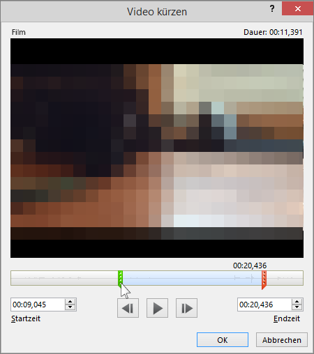 shows the trim video dialog in powerpoint