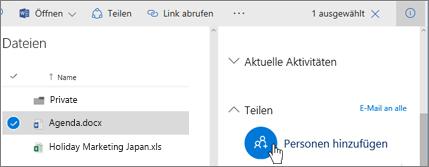 """Screenshot: Option """"Personen hinzufügen"""" für die Freigabe im Bereich """"Berechtigungen"""" in OneDrive for Business"""