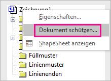 """""""Dokument schützen"""" im Zeichnungsexplorer in Visio 2016"""