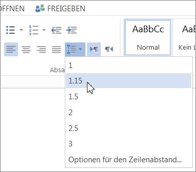 Schaltfläche 'Zeilenabstand' auf der Registerkarte 'Start'