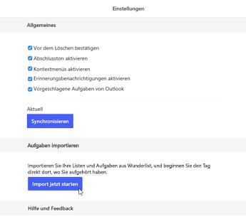 """Screenshot der ausgewählten Schaltfläche """"Import jetzt starten"""""""