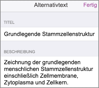 "Dialogfeld ""Alt-Text"" auf dem iPhone."