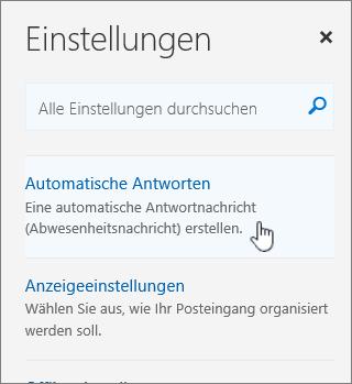 """Screenshot des Hilfebildschirms, """"Automatisch antworten"""" ausgewählt"""