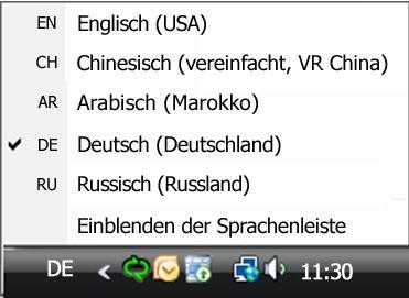 Sprachenleiste/Eingabegebietsschema-Leiste