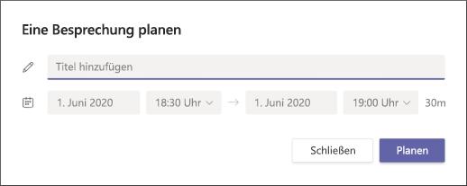 """Bildschirm """"Besprechung planen"""""""