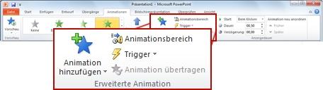 """Gruppe """"Erweiterte Animation"""" auf der Registerkarte """"Animationen"""" im PowerPoint 2010-Menüband"""