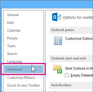"""Klicken Sie auf """"Datei"""" > """"Optionen"""" > """"Erweitert""""."""