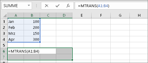 =MTRANS(A1:B4)