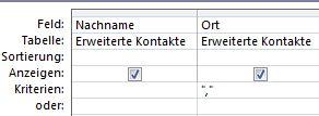 Abfrage-Designer mit Kriterien für die Anzeige von Datensätzen mit leerem Wertfeld