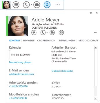 Screenshot der Kontaktauflistung mit ausgewählten Visitenkartensymbol und angezeigter zugeordneter Visitenkarte