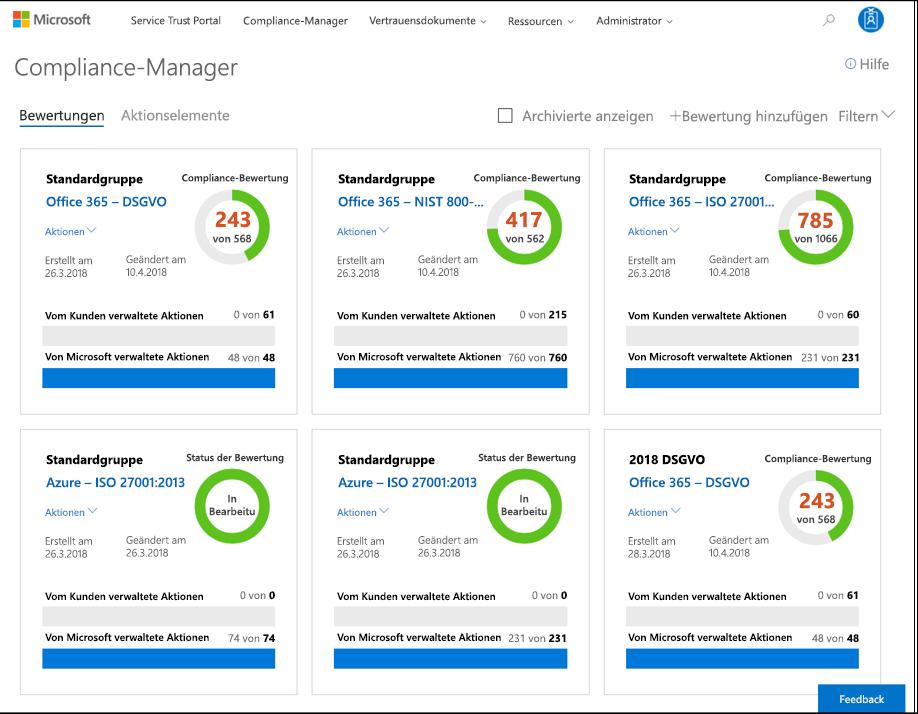 "Compliance-Manager-Dashboard – Hauptmenü – aktualisiertes Menü ""Administrator"""