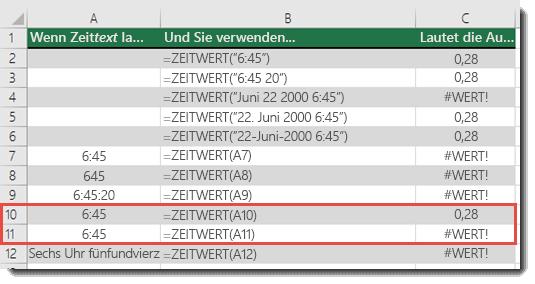 Ausgabe verschiedener ZEITWERT-Funktionen