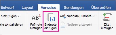"""Auf der Registerkarte """"Verweise"""" ist die Schaltfläche """"Endnote"""" hervorgehoben"""