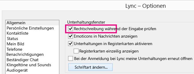 Screenshot vom allgemeinen Lync-Optionsfenster mit ausgewähltem Kontrollkästchen 'Rechtschreibung prüfen'