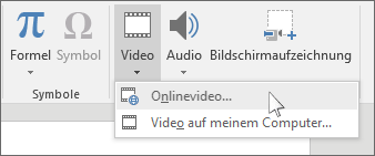 Die Schaltfläche auf der Menüleiste zum Einfügen eines Onlinevideos in PowerPoint
