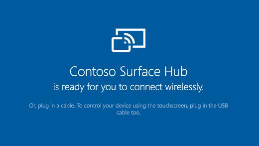 Zeigt, die auf einem Surface Hub geöffnete Connect-App, die angibt, dass der Surface Hub für eine drahtlose Verbindung bereit ist.