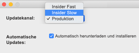 Abbildung des Mac-Fensters Microsoft AutoUpdate – > Einstellungen mit den Insider Slow- und Insider Fast-Optionen.
