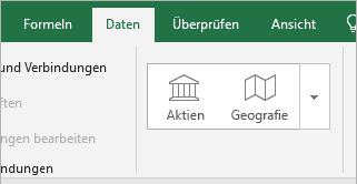 """Registerkarte """"Daten"""", Schaltflächen """"Aktien"""" und """"Geografie"""""""
