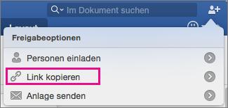 """Um einen Link für das Dokument in die Zwischenablage zu kopieren, klicken Sie auf """"Link kopieren""""."""