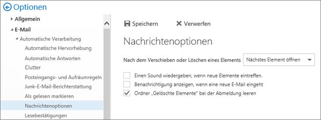 """Ein Screenshot zeigt das Dialogfeld """"Nachrichtenoptionen"""", in dem das Kontrollkästchen zum Leeren des Ordners """"Gelöschte Elemente"""" aktiviert ist, wenn ich mich abmelde."""