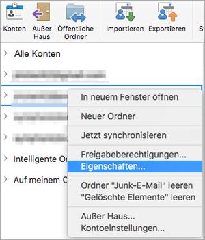 Zeigt das Kontextmenü für einen Exchange-Ordner ' Eigenschaften '