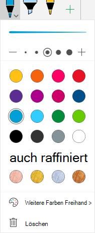 Freihandfarben und-Effekte für das Zeichnen mit Freihand in Office unter Windows Mobile