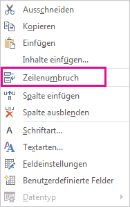 Wrap Text command on the right-click menu