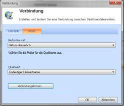 Dialogfeld 'Verbindung', Registerkarte 'Werte' mit angezeigten Verbindungen für Beispielbericht