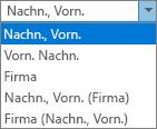 Outlook-Optionen für Personen, hier die Listenoptionen für die Ablagereihenfolge