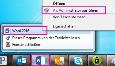 """Klicken Sie mit der rechten Maustaste auf das Word-Symbol, und klicken Sie dann erneut mit der rechten Maustaste auf """"Word"""", um das Programm als Administrator auszuführen."""