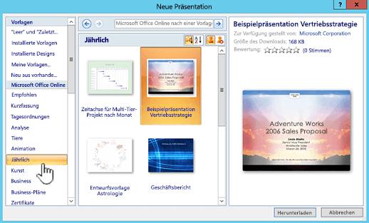 Anwenden einer Vorlage auf die Präsentation - PowerPoint