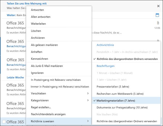"""Menü """"Richtlinie zuweisen"""" in Outlook im Web"""