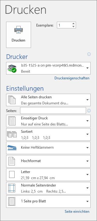 Screenshot des Bereichs 'Drucken' mit den verschiedenen Druckeinstellungen, z. B. 'Anzahl der Exemplare'