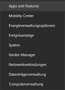 Screenshot des Startmenüs mit Apps und Funktionen