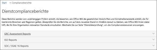 """Zeigt die Seite """"Dienstüberprüfung"""" an: Dienstcomplianceberichte"""