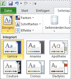 Katalog 'Designs' in Excel 2010