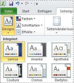 Katalog 'Designs' in Excel2010
