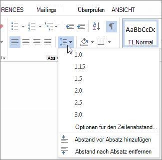 """Bildschirm """"Zeilen-und Absatzabstand"""""""