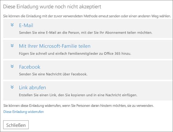 Das Dialogfeld für eine ausstehende Einladung mit Optionen zum erneuten Senden des Links per E-Mail, Microsoft Family, Facebook oder als benutzerdefinierter Link sowie einem Link zum Widerrufen der Einladung