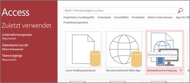 Bestandsnachverfolgungsvorlage auf der Startseite von Access