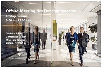 Veranstaltungshandzettel, mit dem das Offsite-Meeting des Forschungsteams am 9. Juni angekündigt wird Das Bild enthält ein Foto und die Adresse des Veranstaltungsorts für die Konferenz.