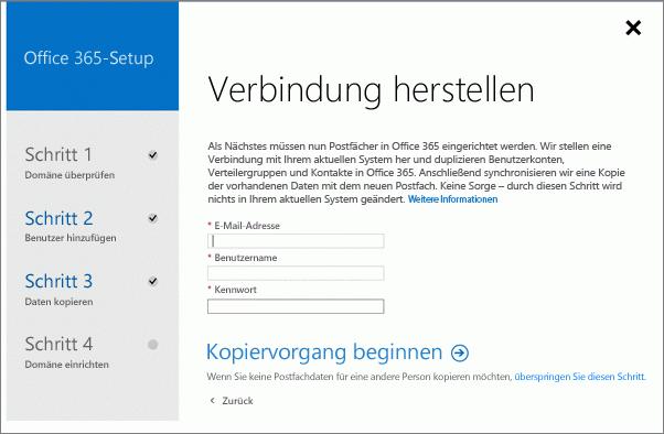 Geben Sie Kontoinformationen ein, um eine Verbindung mit Ihrem Exchange-Server herzustellen.