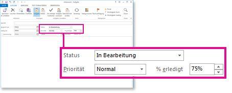 Eigenschaften 'Status', 'Priorität' und '% erledigt' in Statusaktualisierungsnachricht