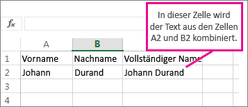Kombinieren von Text aus Zelle A2 und B2