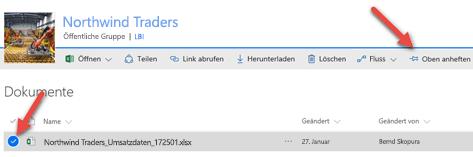 """Wählen Sie die Datei aus, und klicken Sie auf """"Oben anheften"""", um den Zugriff auf Ihre Dokumentbibliothek zu erleichtern."""
