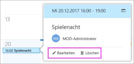"""Screenshot mit den Schaltflächen """"Bearbeiten"""" und """"Löschen"""""""
