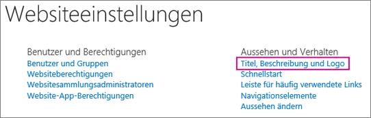 """Option """"Titel, Beschreibung und Logo"""", unter """"Websiteeinstellungen"""""""
